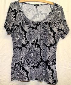 EUC Talbots Short Sleeve Sz M Black & White Paisley Pattern Rayon Blouse Top EUC #Talbots #Blouse