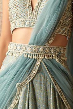 Saree With Belt, Chanya Choli, Salwar Pants, Scarf Knots, Dress Design Sketches, Sewing Circles, Designs For Dresses, Hand Embroidery, Embroidery Designs