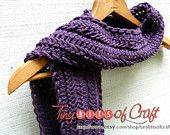 SALE: Long Eggplant Purple Acrylic Scarf perfect for autumn. Crocheted knit Hairpin Lace, for women or teens. (tinybitsofcraft.etsy.com)