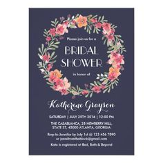 Navy Blue Floral Wreath Bridal Shower Invitation Vintage and classic floral wreath bridal shower and wedding invitation. Colorful flowers with stripes pattern on the back. Perfect for your spring wedding, engagement party or bridal shower invites. Rustic and elegant theme with swirl and curl script text. Font, background and text color can be customized to match your theme. Personalize the wording for any occasion such as baby shower, birthday party, anniversary and many more.