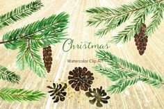 Winter Christmas Watercolor Clipart by LABFcreations on Creative Market