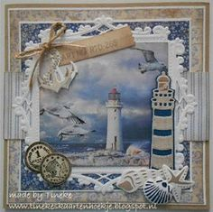 Use the idea of this in a shadow box of a naturesk vacation. more space between layers add in leaves or rocks or items you brought home and photo from the trip as the background. Seaside Theme, Sea Theme, Birthday Cards For Men, Handmade Birthday Cards, Marianne Design Cards, Album Scrapbook, Nautical Cards, Karten Diy, Beach Cards