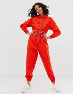 Buy ASOS DESIGN boilersuit with zip at ASOS. With free delivery and return options (Ts&Cs apply), online shopping has never been so easy. Get the latest trends with ASOS now. Sporty Outfits, New Outfits, Cute Outfits, Urban Fashion, 90s Fashion, Fashion Outfits, Design Bleu, Boiler Suit, Fashion Line