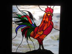 Stained Glass Rooster An Explosion of Color. Perfect by ObanaGlass, $250.00