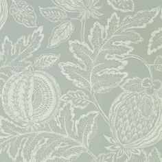 A grey damask wallpaper with a large fruit print. It has a chalky off-white hand-printed pattern. Wallpaper Stores, Print Wallpaper, Fabric Wallpaper, Wallpaper Roll, Wallpaper Wallpapers, Grey Damask Wallpaper, Grey Interior Design, Painted Rug, French Tips
