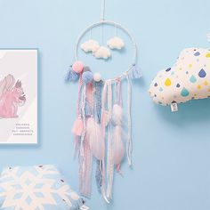 Our DIY Cloud Dream Catcher comes together in an afternoon. Find more unique wall decor and unique gadgets at Apollo Box! Dream Catcher Bedroom, Feather Dream Catcher, Handmade Home Decor, Handmade Crafts, Sri Lanka, Beautiful Dream Catchers, Ornament Crafts, Art Mural, Tapestry Wall Hanging
