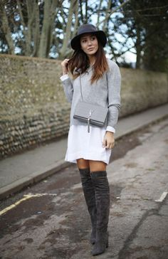 Tamara Kalinic débuts a cute and preppy style here, pairing marl grey thigh high boots with a white shirt dress and a thin grey sweater. Try adding a fedora to get the cool, casual vibes we see here. Shirt/Boots: Asos, Sweater: 360 Sweater, Hat: Maison Michel, Bag: YSL. - travel bags for women, bags online purchase, bags online *ad