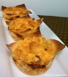 """Emily Bites - Weight Watchers Friendly Recipes: Buffalo Chicken """"Cupcakes""""  These are so fun! Great way to enjoy enchiladas without all the points and would be awesome for parties."""