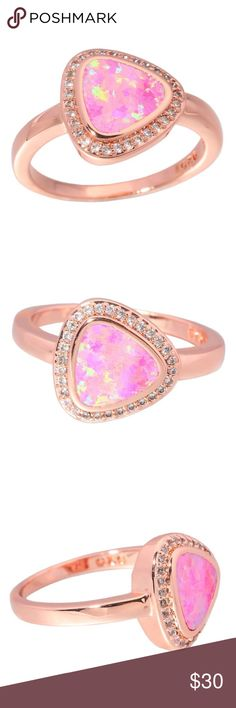 Rose Gold Pink Fire Opal Ring Size 7 Lab Created Brand New Pictures Enlarged Jewelry Rings