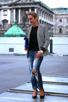 jeans - Mango / pullover - Vero Moda / blazer (sponsored) - Minimum via Zalando / clutch - New Yorker / shoes - Buffalo / rings - Forever engagement ring / earrings - vintage / watch - Buffalo via Ottoversand / bracelet - Swarovski Still In Love, Vintage Watches, Ring Earrings, Vintage Earrings, Buffalo, Mango, Swarovski, Forever 21, Fashion Styles