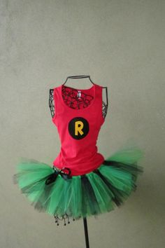 Superhero Running Tutu: Robin Inspired Custom Racing Tank and Pixie Length (9 inch) Tutu