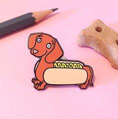Pines de esmalte duro de perro salchicha hot dog