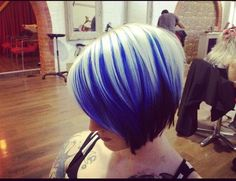 Deep Dye Blue Color With A Short Blunt Cut From Chloeleannehamilton ... How cool lookin!