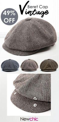 1f01593b7e286 Men Vintage Tweed Newsboy Cap Warm Beret Caps Comfortable Flat Cabbie Hats  Octagonal Cap is hot sale on Newchic.