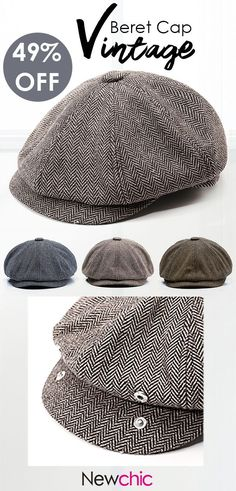5da776c609b Men Vintage Tweed Newsboy Cap Warm Beret Caps Comfortable Flat Cabbie Hats  Octagonal Cap is hot sale on Newchic.