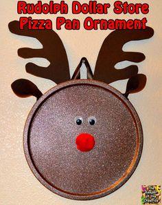 Rudolph Dollar Store Pizza Pan Ornament