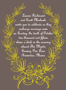 gray and yellow wedding invitations with vintage laurel leaf design