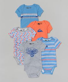 Look what I found on #zulily! Quiksilver Blue & Orange Bodysuit Set - Infant by Quiksilver #zulilyfinds