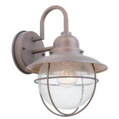 Hampton Bay - Exterior Wall Lantern - Bronze - BOA1691 - Home Depot Canada $30  Assembled Depth (In Inches)	9.38 In. Assembled Height (In Inches)	11.75