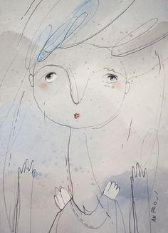 Ангел 4, серо-голубые цвета, оригинальный рисунок, (5,83 x 8,27 inches/ 14,8 х 21 cm)