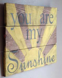 You are my sunshine reclaimed wood sign, for nursery boys girls room – Tik wood art Reclaimed Wood Signs, Diy Wood Signs, Country Wood Signs, Pallet Crafts, Wood Crafts, Pallet Ideas, Boy Girl Room, Room Girls, Kids Girls