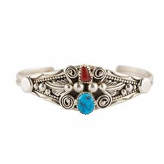 Turquoise and Coral Navajo Bracelet from Lost Lover