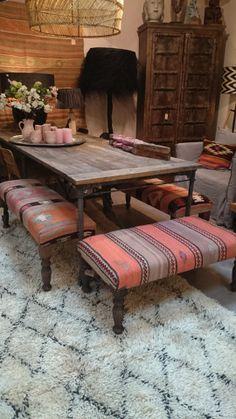 kilim benches and Beni Ouarain rug