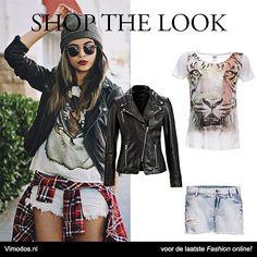 Shop deze stoere look bij Vimodos  Vero Moda top: http://www.vmds.nl/mJ Selected Femme jacket: http://www.vmds.nl/mK Vila shorts: http://www.vmds.nl/mL