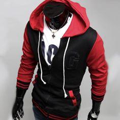 45f66b8552b4 Sweat Hoodie capuche Sweater Men Gilet Baseball Sport University Fashion  Rouge. Fermeture ÉclairMode HommeDernière ...