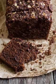 GF Triple Chocolate Quick Bread by edibleperspective: Soft and velvety...extreme comfort. Made with oats, buckmeat flour, flax meal, sweet potato, apple sauce, cocoa.... #Bread #Chocolate #GF