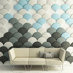 Scale shaped #tiles will #soundproof your #room with #style . #roomdecor #livingroom #sofa #pillow #interior #decor #decoração #design #home #love #loveit #follow #nofilter #cute