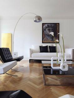 ~arco lamp with chevron floors~