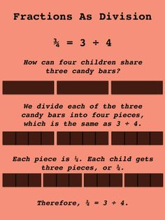 Teaching Fractions As Division Teaching Fractions, Math Fractions, Dividing Fractions, Multiplication, Math For Kids, Fun Math, Math Intervention, Intervention Specialist, Student Teaching