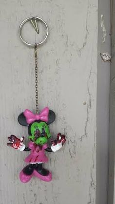 Zombie Minnie Mouse Key Chain by ZeeesCloset on Etsy, $5.00