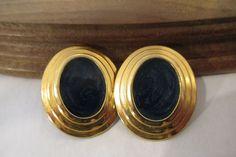 Fabulous Vintage Shinny Gold Tone Dark Blue Marble Swirl Enamel Post Earrings #PostDrop