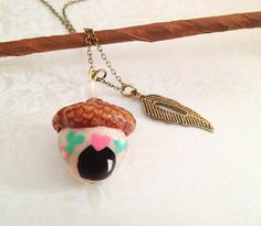 Acorn Fairy Home Necklace. Whimsical. Polymer Clay Jewelry. Miniature Fairy Door. Woodland. Nature. Brass. Vintage Style. Hand Painted.