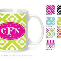 Monogrammed coffee cup, personalized coffee cup, design your own coffee cup