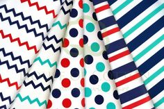 Marine red, navy blue & turquoise set with stripes, dots and chevrons / Zestaw marynarski