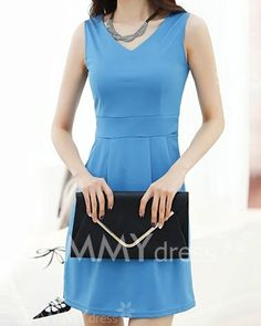 Cute Women's V-Neck Solid Color Sleeveless Slimming Dress