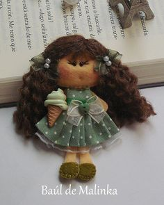 Your place to buy and sell all things handmade Tiny Dolls, Cute Dolls, Felted Wool Crafts, Felt Material, Felt Brooch, Little Doll, Clothes Crafts, Felt Fabric, Felt Hearts
