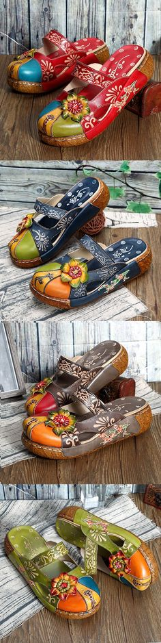 US$ 48.47   SOCOFY Vintage Colorful Leather Hollow Out Backless Flower Shoes