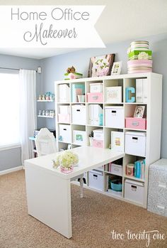 Home office idea for plain white bookcase shelf storage