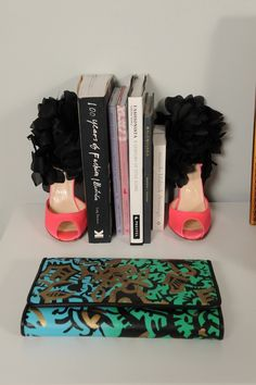 fancy shoes for bookends- awesome idea!