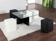 Mesa moderna de centro con 4 pufs incluidos, podéis comprarla en nuestro blog www.milideas.net