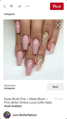 Coffin nails rose gold