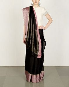 Buy Black Herringbone Sari Available at Ogaan Online Shop