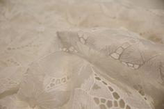 Embroidered Organza Offwhite/Beige - Bridal - Tessuti Fabrics - Online Fabric Store - Cotton, Linen, Silk, Bridal & more