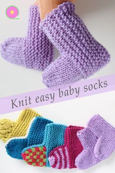Baby socks knitted flat on two needles : These easy baby socks are knitted flat on straight needles. A basic pattern and video tutorial that you can customize. Baby Mittens Knitting Pattern, Easy Baby Knitting Patterns, Baby Booties Free Pattern, Knit Baby Booties, Baby Hats Knitting, Easy Knitting, Knitting Socks, Knitting Needles, Knitted Baby Socks