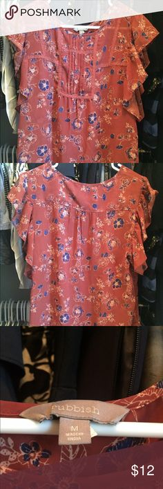 Floral top by Rubbish Rubbish floral top. Cute ruffle flutter sleeves. Burnt orange with floral. Rubbish Tops Blouses