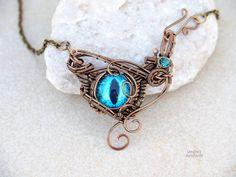 Dragon eye pendant/Wire wrapped necklace/Eye pendant/Evil eye/Blue eye/Wings/Gift for her/Gift ideas/Dragons eye pendant/OOAK by Ianira on Etsy